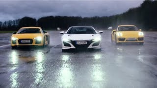 Honda NSX vs Audi R8 V10 vs Porsche 911 Turbo | Chris Harris Drives | Top Gear