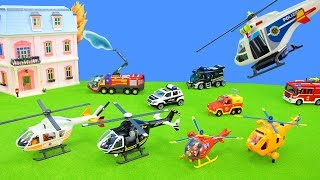 Helicopter Rescue: Police, Ambulance & Fireman Trucks in Playmobil City Action | Toys for Kids
