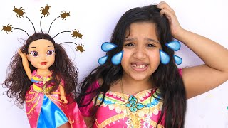 بنت شفا انعدت قمل  في شعرها !! my doll caught lice in her hair