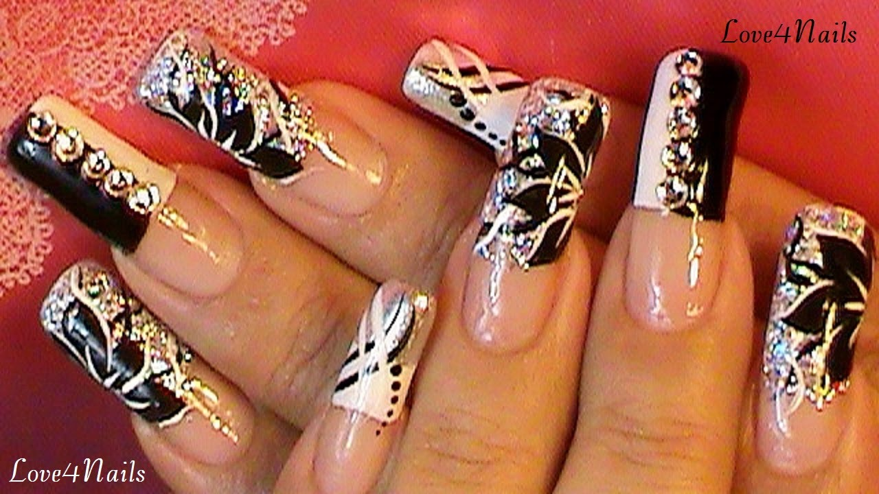 - Black & White FreeStyle Nail Art Design - YouTube