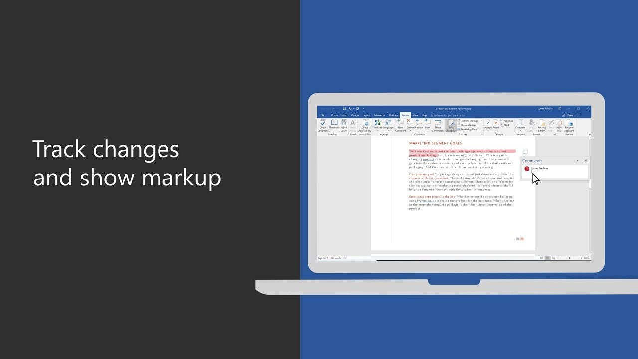 Track changes and show markup in Microsoft Word