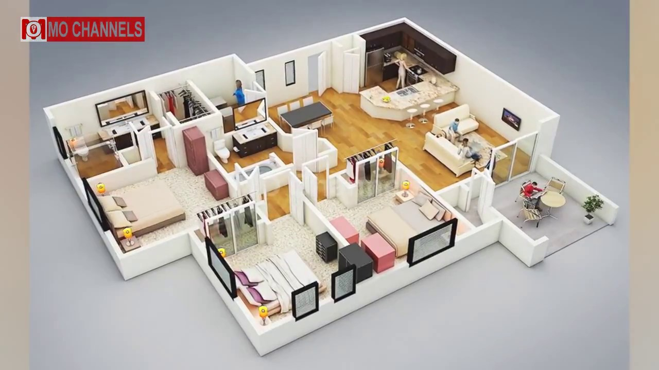 Best 30 Home Design With 3 Bedroom Floor Plans Ideas & Best 30 Home Design With 3 Bedroom Floor Plans Ideas - YouTube