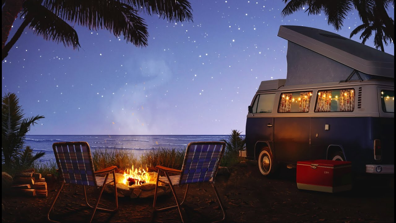 Campfire by the Sea Ambience | Crackling Fire, Ocean Waves, & Crickets Sounds