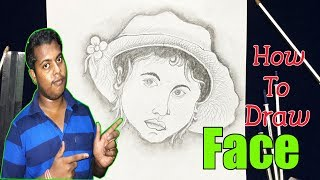 how to draw a face step by step with pencil easy(for kids) | Rong-Bahar Art |