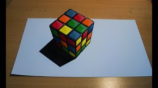 How to draw Rubic Cube 3d illusion one point perspective