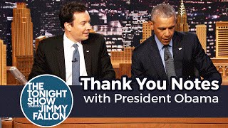 Jimmy and President Obama write out Thank You Notes to Congress, Obama's birth certificate and Hillary Clinton. Subscribe NOW to The Tonight Show Starring ...