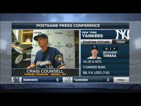 Brewers' Counsell: 'We put a big number on them in the first inning and held on'