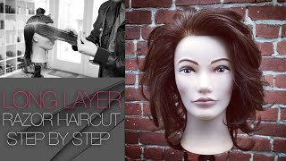 How To Cut A Long Layered Haircut With A Razor - Step by Step