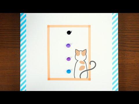 Cat and Aurora|Landscape Acrylic Painting|Motion Art|Satisfying ASMR [4K]