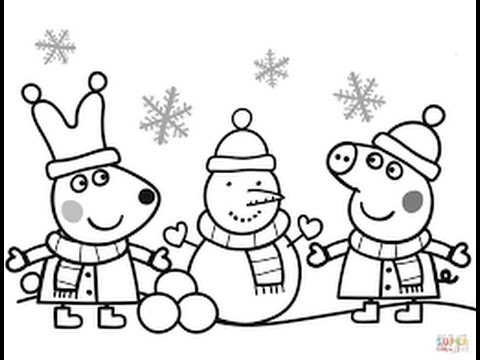 New! Peppa Pig playing with Snow Coloring Page - YouTube
