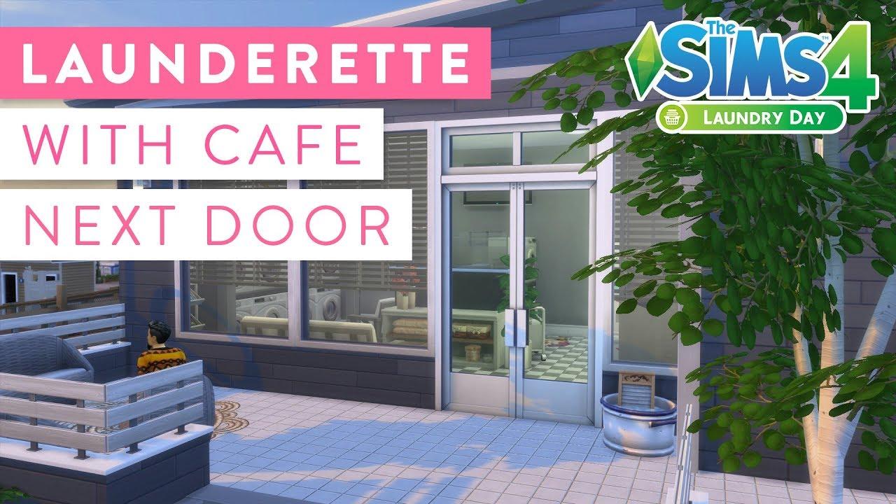 Launderette with Café next door · Community Lot Build · The Sims 4 Laundry  Day