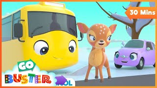 Cute Baby Reindeer in the Snow! Playing with New Friends | Go Buster | Baby Cartoons | Kids Videos
