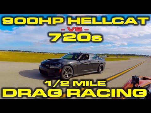 McLaren 720S Drag Races Tuned Charger Hellcat, Challenger Scat Pack
