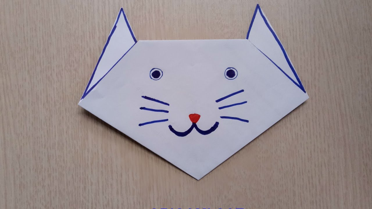 origami cat faceeasy origami for kidsdiy paper toy