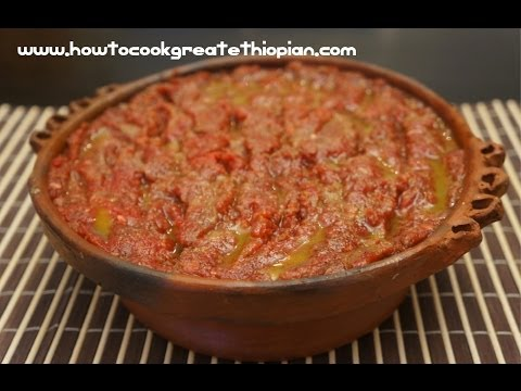 Ethiopian Kitfo Recipe Raw minced Beef Steak Tartare - Amharic English Injera Mitmita