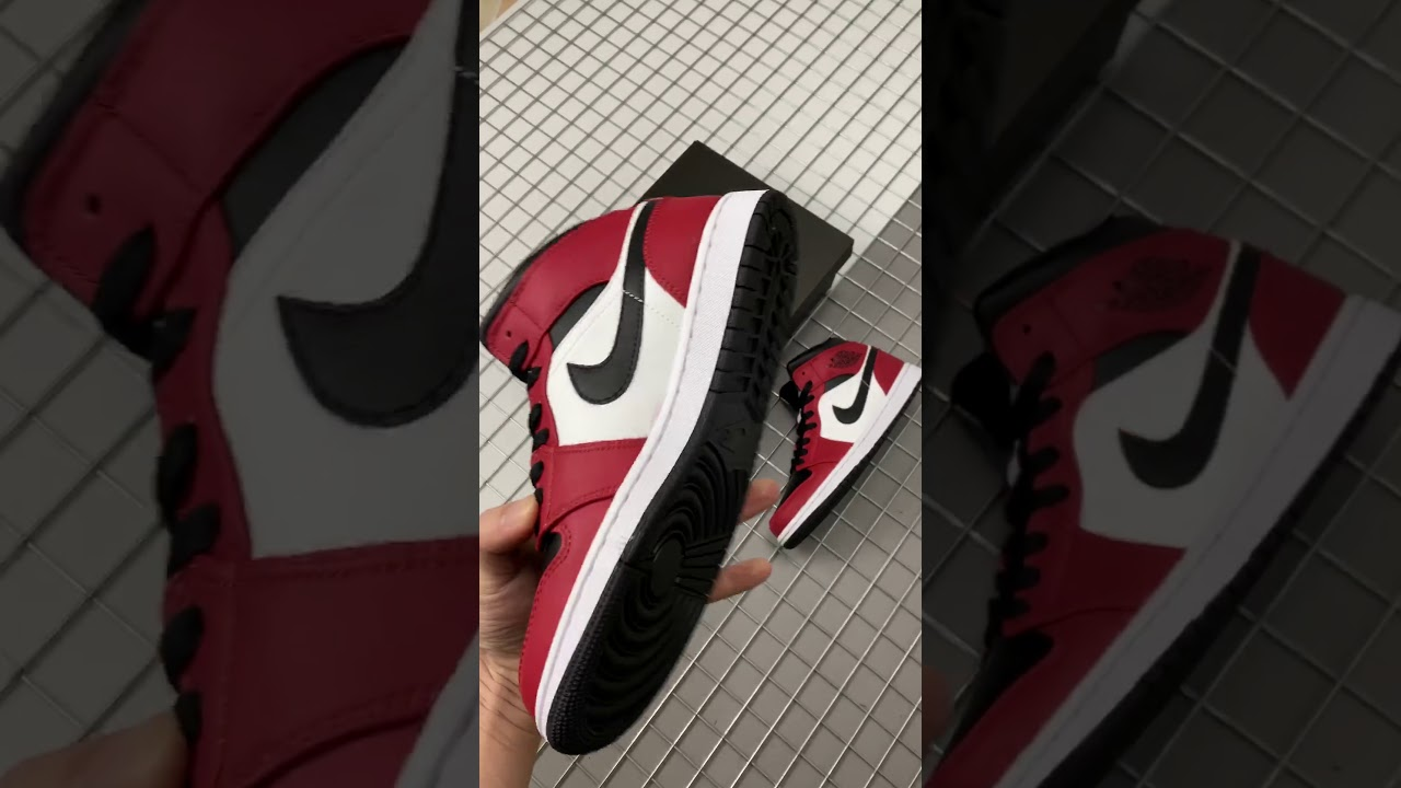 Air Jordan 1 Mid Chicago Black Toe Size 7 12 Youtube