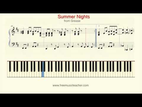 "How To Play Piano: ""Summer Nights"" from Grease Piano Tutorial by Ramin Yousefi"