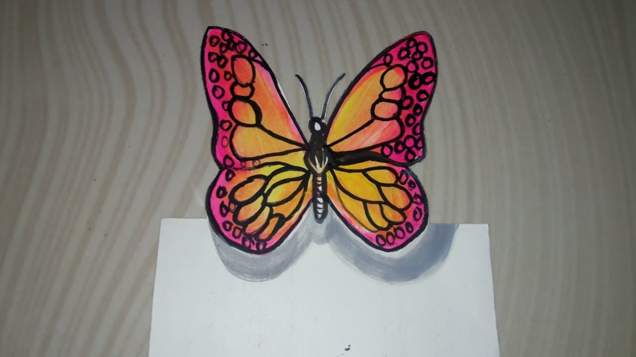How to Draw 3D Butterfly? | StepsTo Draw Butterfly | How to Paint ...