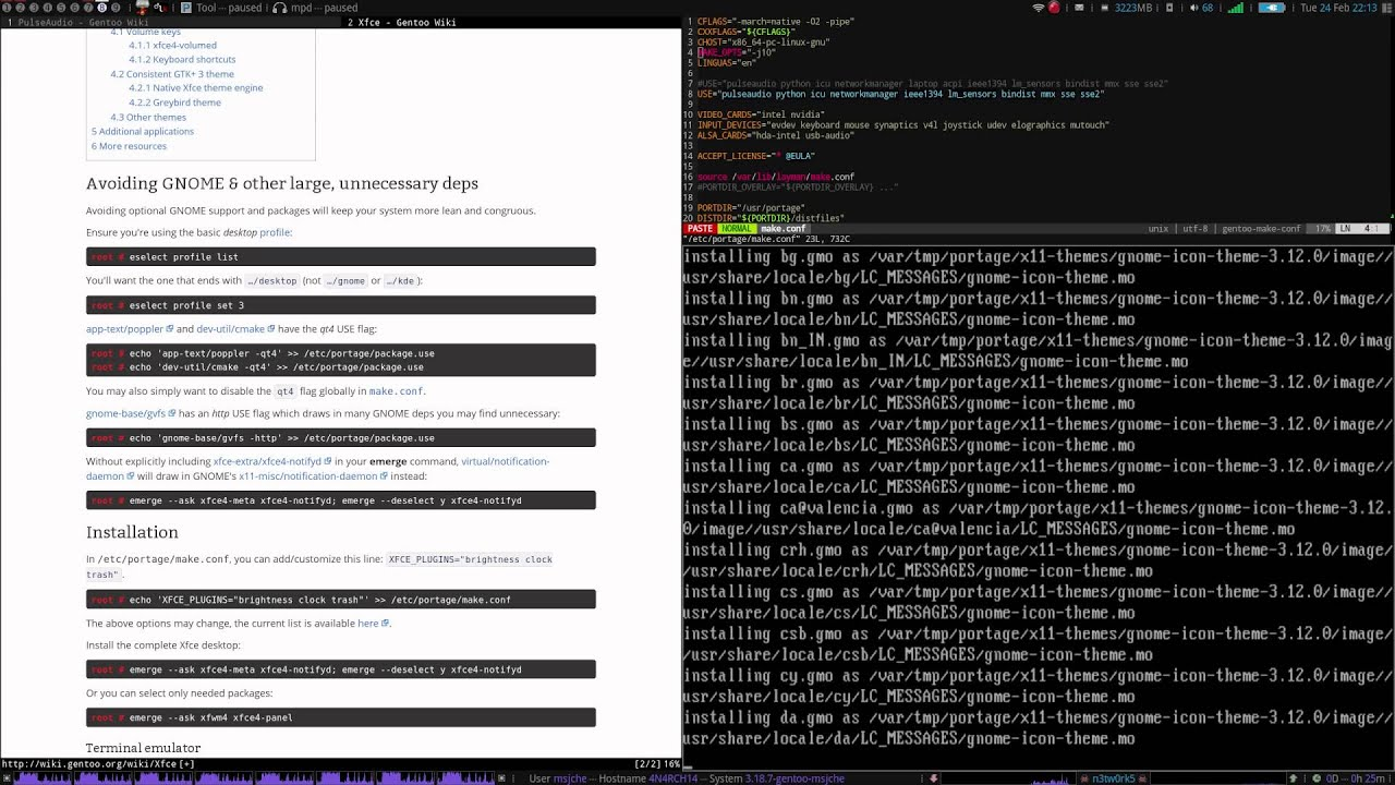 Full Gentoo Install Tutorial - pt 2 - X, Sound and Xfce/SLiM