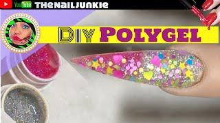 Polygel Nails | DIY Glitter Polygel Nails 🔥💚