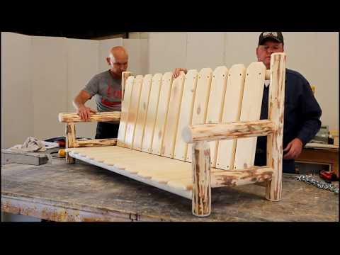 DIY Log Worx - Hand Built Log Glider Chair  - Woodworking Log Furniture Shop