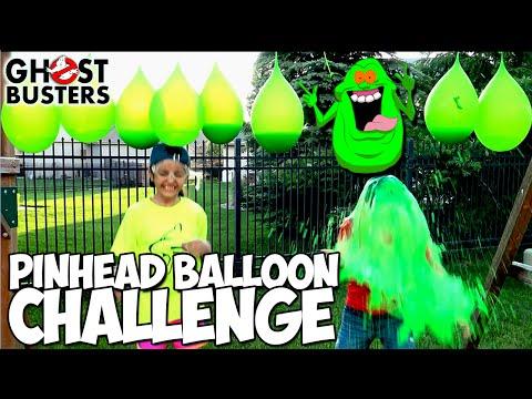 EXTREME PINHEAD BALLOON CHALLENGE | Ghostbusters Gross Slime Edition | KidToyTesters