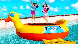 Download Jannie & Emma Pretend Play with Giant Inflatable Duck Swimming Pool Bouncer Mp3 and Videos