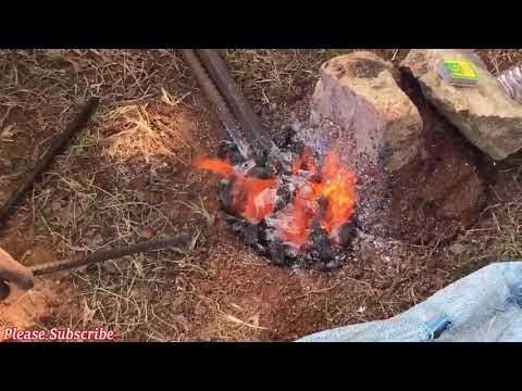 Digging Bar ( Crowbar ) Sharpening at my Land
