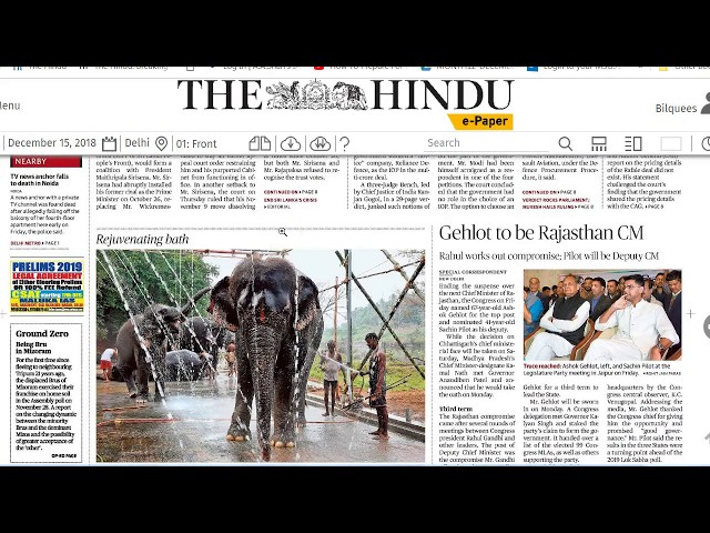 15 December 2018 - IMPORTANT HEADLINES The Hindu Current Affairs  - Mrs. Bilquees Khatri