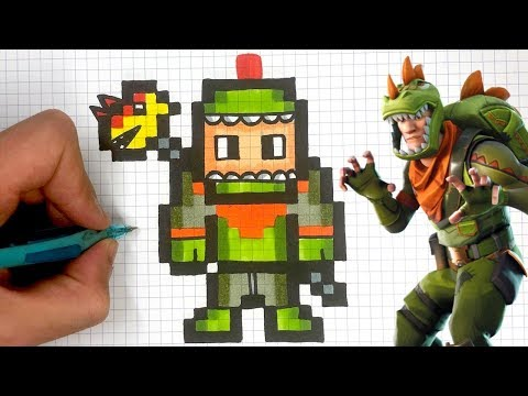 How To Draw Rex Skin Pixel Art Fortnite Youtube