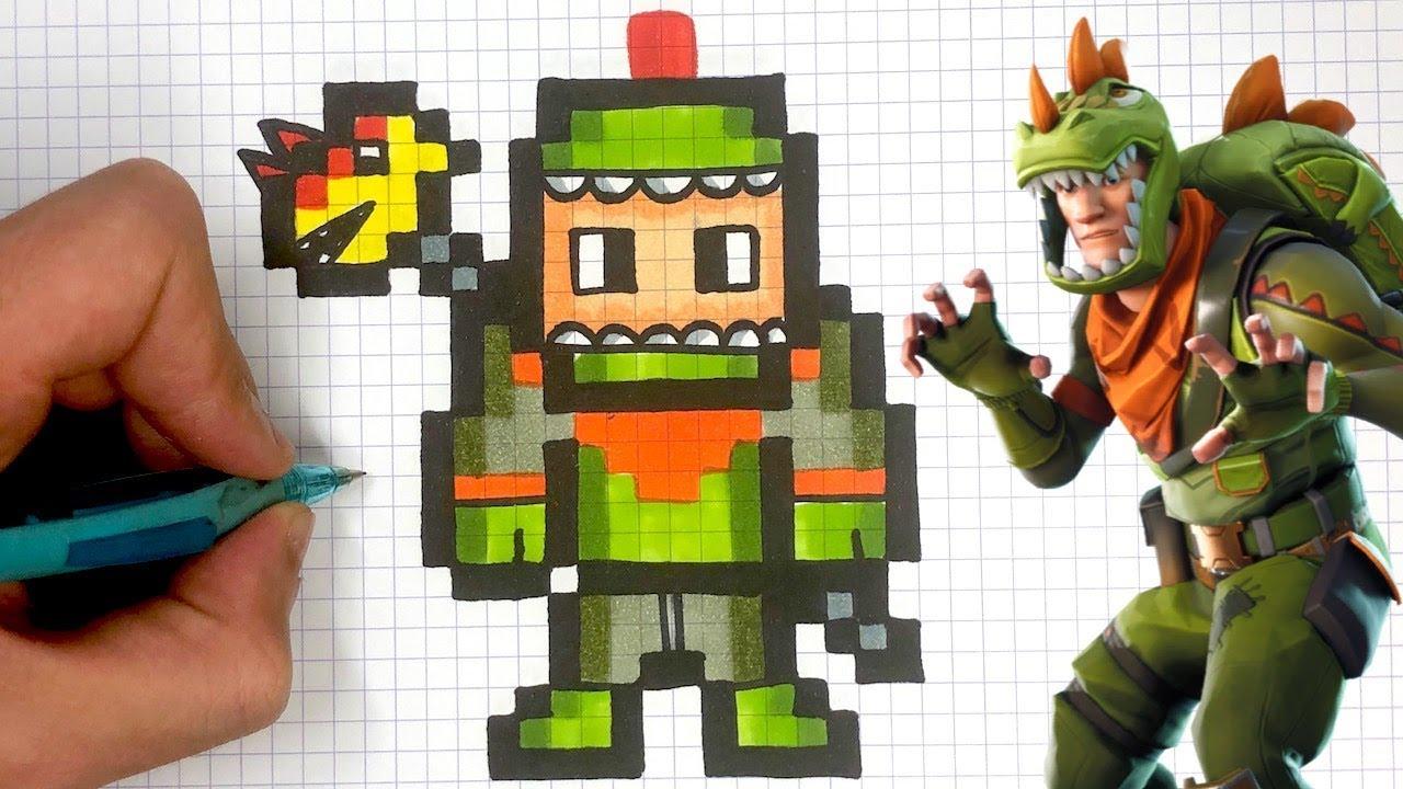 How To Draw Rex Skin Pixel Art Fortnite Youtube