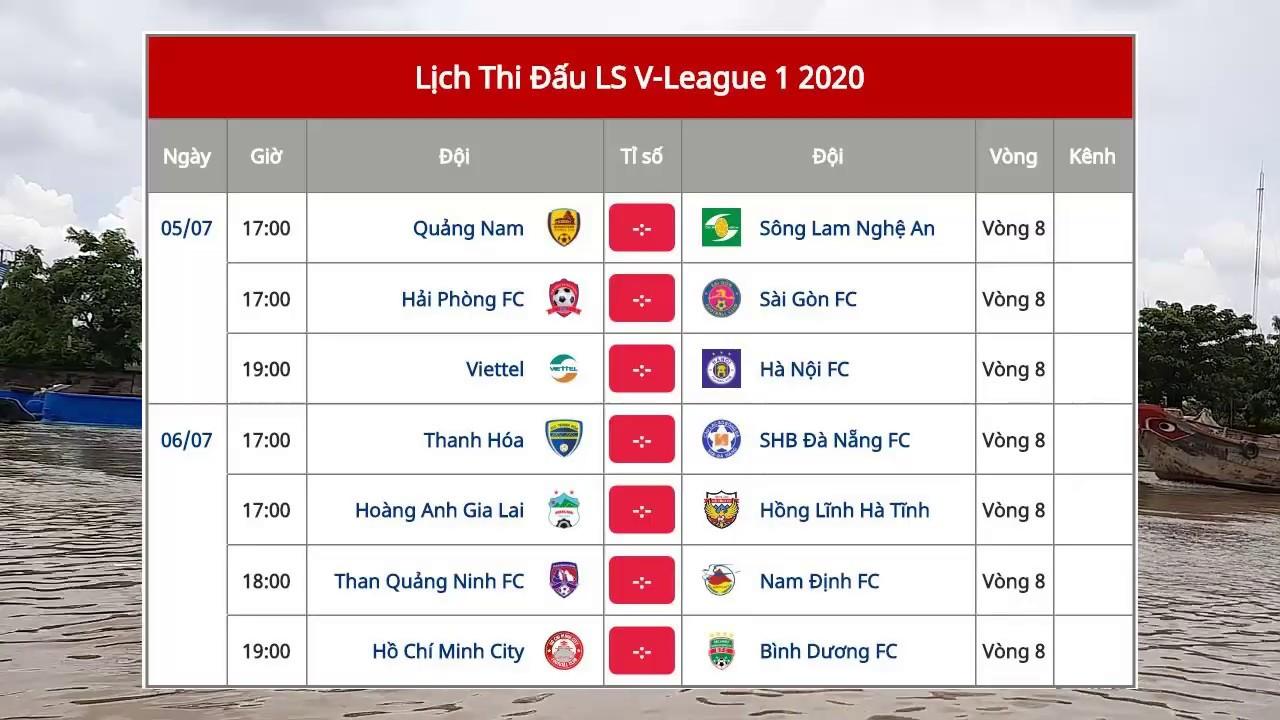 L U1ecbch Thi U0110 U1ea5u V U00f2ng 8 V League 2020 B U1ea3ng X U1ebfp H U1ea1ng V League