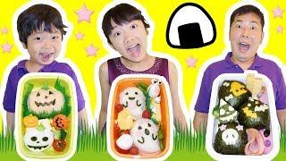 ★「ハロウィンお弁当作り対決~!」おばけおにぎり登場!★Halloween box lunch cooking★ thumbnail