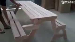 Panchina che diventa tavolino da pic nic