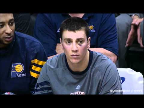 A.J. Price messes with Tyler Hansbrough on the bench 29/3/12