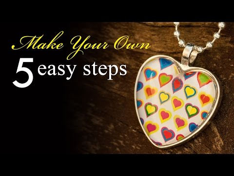How To Make A Heart Cabochon Pendant Necklace - Silver Heart Bezel Tray Necklace Tutorial