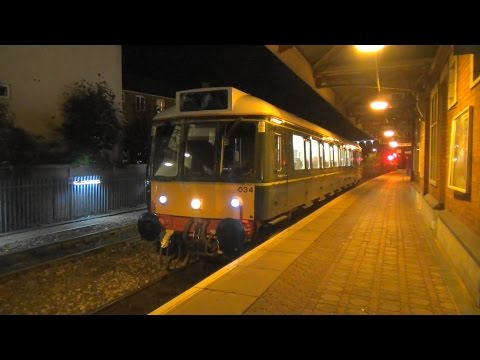 (HD) Chiltern Railways  BR Green 121034 Bubble Car leaves Aylesbury on 2P70  30.10.15