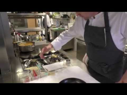 Cyril Molard prepares a dessert at his Michelin star restaurant in Luxembourg