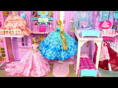 Princess Barbie Rapunzel Pink Purple Castle All Day Routine! Morning to Night Putri Barbie Castelo