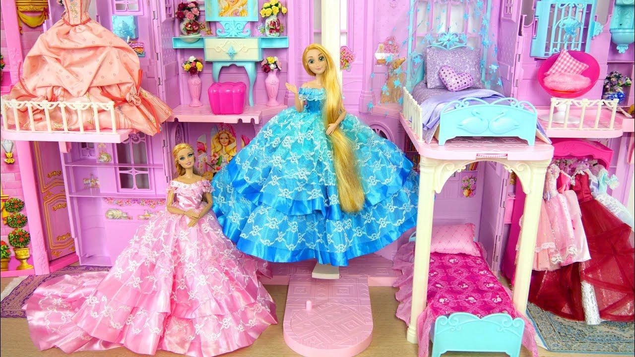 Princess Barbie Rapunzel Pink Purple Castle All Day Routine! Morning to Night Putri Barbie Castelo #1