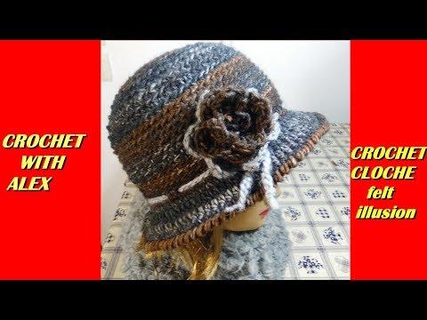 CROCHET CLOCHE HAT FELT ILLUSION tutorial