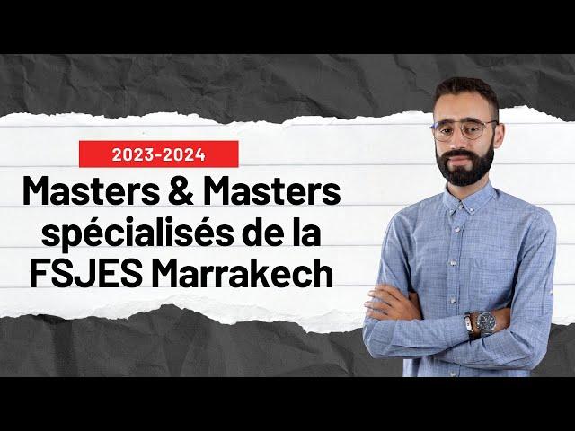 MASTER FSJES MARRAKECH 2020-2021 INSCRIPTION