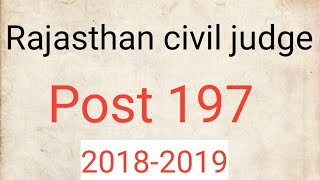 Rajasthan civil judge 2018-2019 | notification of Rajasthan civil judge| Target for IQ