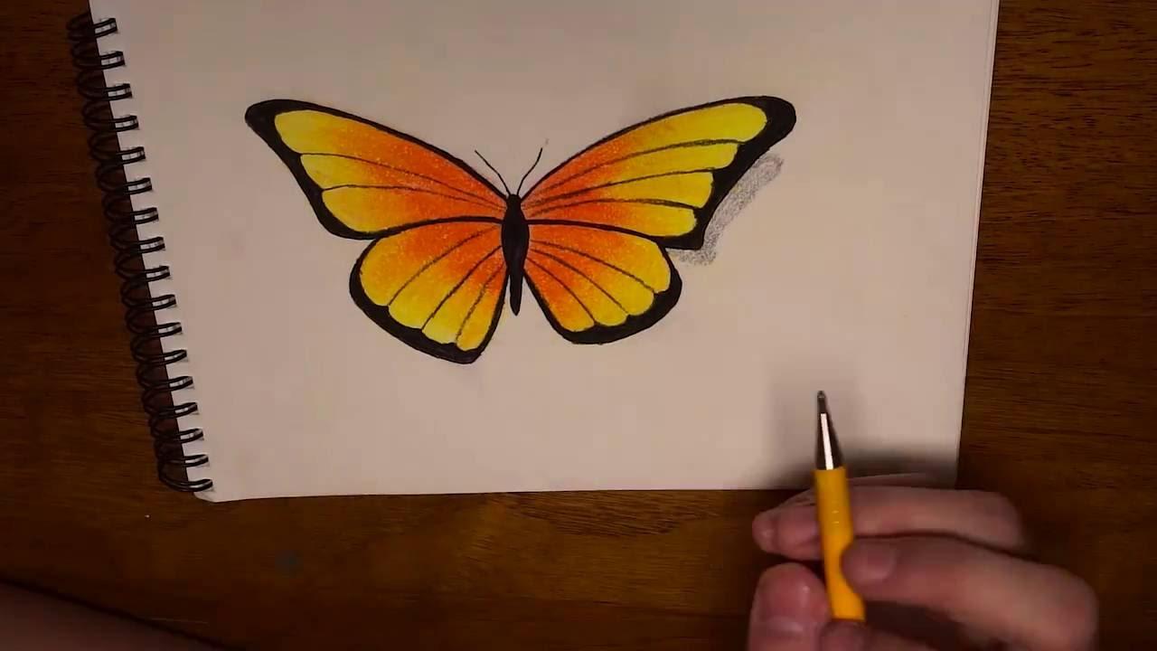 Come Disegnare Una Farfalla Con I Gessetti Di Creta Youtube