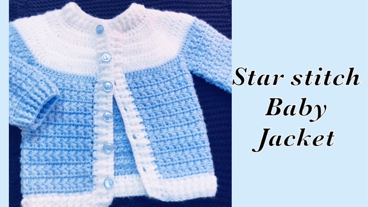 Baby Boy Set How To Crochet Newborn Star Stitch Sweater Jacket Cardigan 0 6m Crochet For Baby 176 Youtube