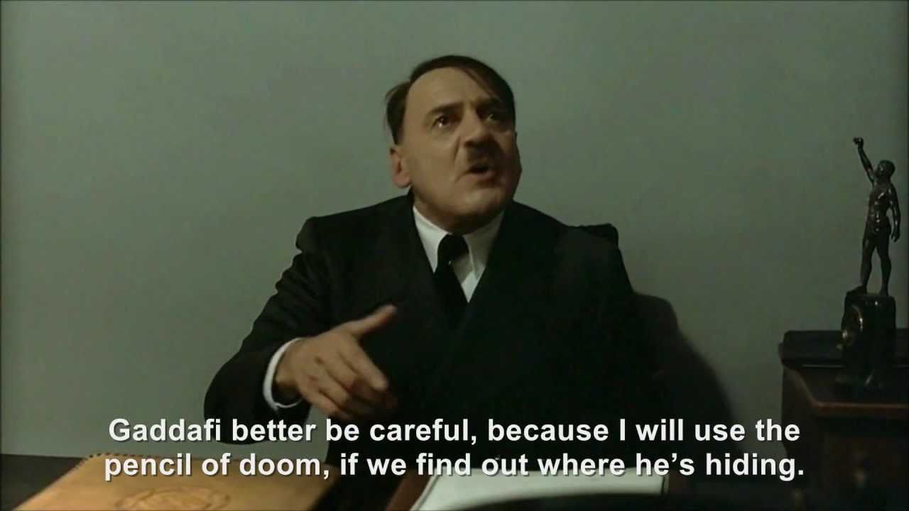 Hitler is informed Gaddafi has still not been defeated