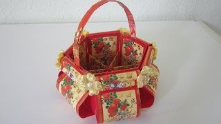 Repeat youtube video CNY TUTORIAL NO. 12 - Chinese New Year Red Packet (Hongbao) Floral Basket