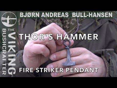 Thor's Hammer Fire Striker Pendant - Mjollnir - flint and steel fire making