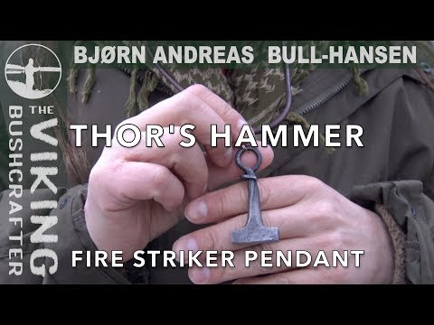 Thor's Hammer Fire Striker Pendant - Mjollnir - flint and steel fire making