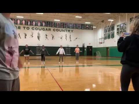 Practice Lake Catholic High School Basketball Cheerleaders with Dads Halftime Show